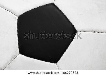 Black pentagon of classic soccer ball - closeup view - stock photo
