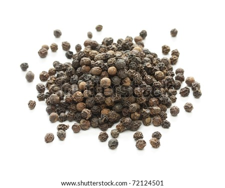 black pepper, black peppercorn , indian spice - stock photo