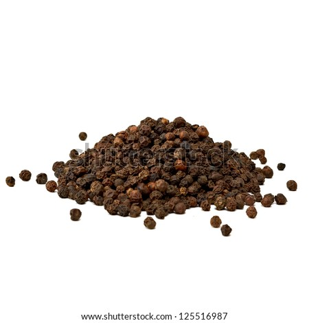Black Peppercorn Pile on white background - stock photo