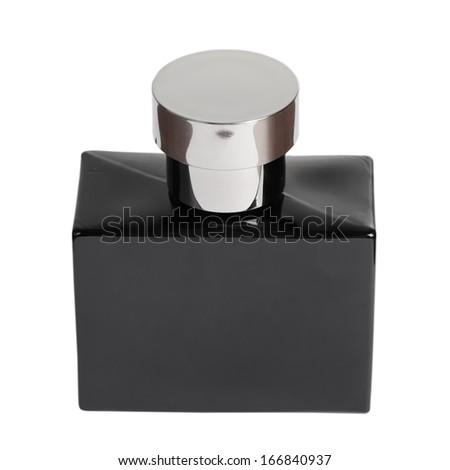 Black perfume bottle isolated on white background - stock photo