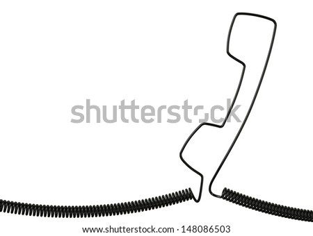 Black Phone Cable Handset Isolated on White background  - stock photo