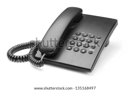black phone with buttons on a white background - stock photo