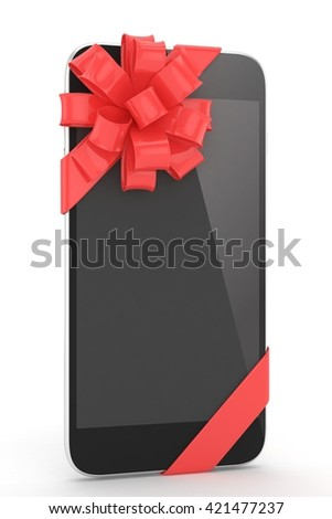 Black phone with red bow. 3D rendering. - stock photo