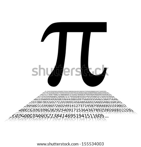 Black Pi number and sign written on white background - stock photo
