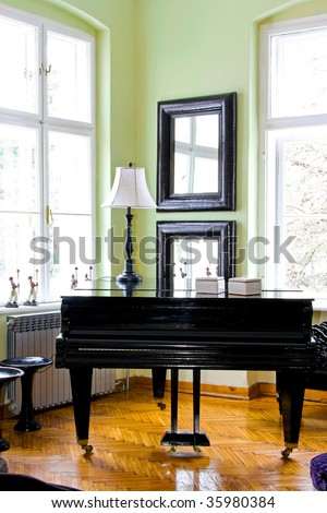 Black piano in room with big windows - stock photo