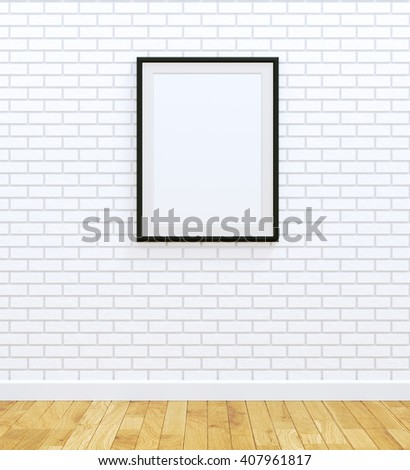 Black picture frame (3D rendered image) - stock photo
