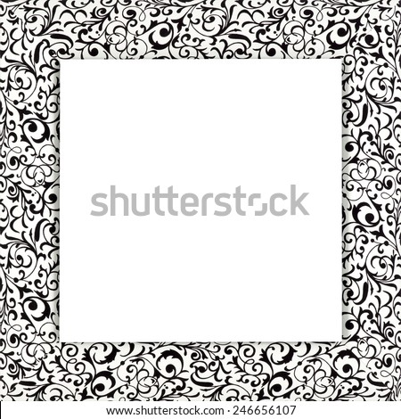 Black picture frame isolated on white background - stock photo