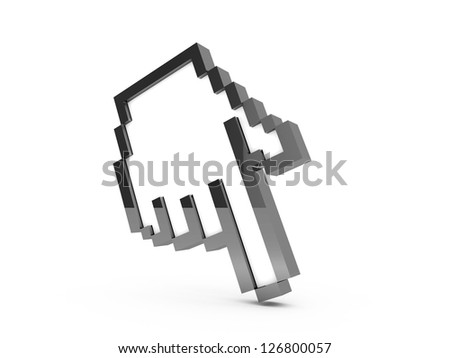 Black pixel hand cursor, pointer with reflection, isolated on white background. - stock photo