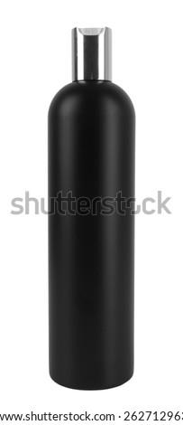 black plastic bottle lotion isolated white background - stock photo
