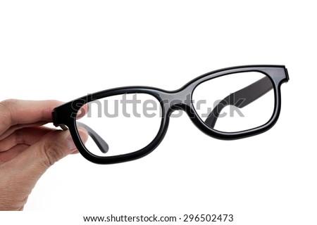 Black plastic Glasses with white background - stock photo