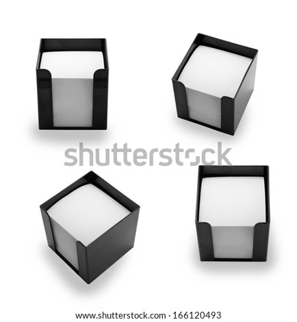 Black plastic memo pad holder with blank white memo paper, isolated on a white background - stock photo