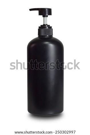 black plastic pump cosmetic bottle on white background - stock photo