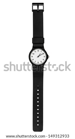 black plastic wrist watch - stock photo