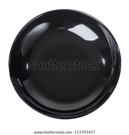 Black plate isolated - stock photo