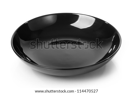 Black plate isolated on white - stock photo