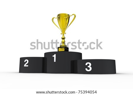 Black podium and gold cup - stock photo