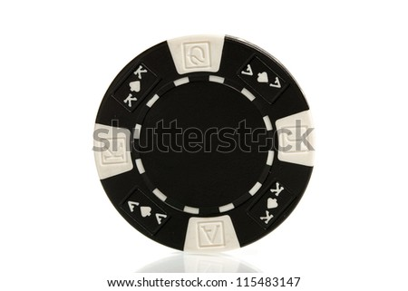 black poker chips on white - stock photo