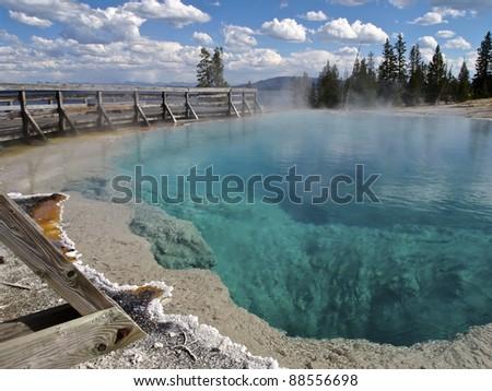 Black Pool at West Thumb Geyser Basin, Yellowstone National Park, Wyoming - stock photo