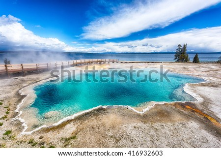 Black Pool, West Thumb Geyser Basin. Yellowstone National Park, Wyoming - USA - stock photo