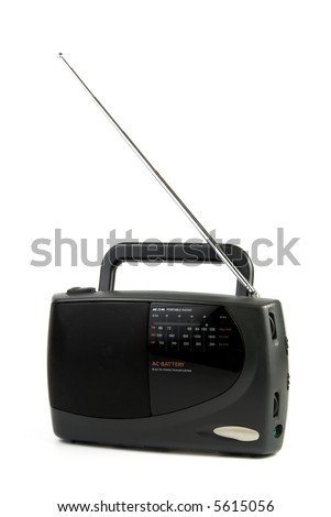 Black portable radio receiver with antenna isolated over white background - stock photo