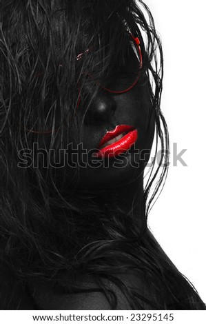 black portrait with hair and sunglasses - stock photo
