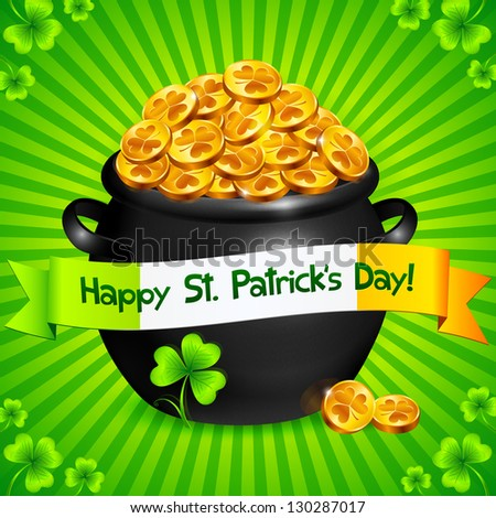 Black pot of leprechauns gold with clovers Patrick's Day card. Raster illustration. Vector version also exist. - stock photo