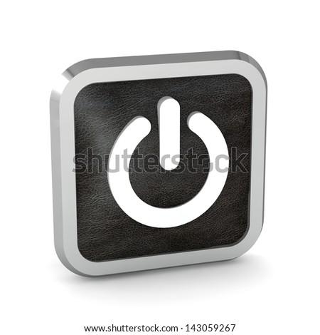 black power button icon on a white background - stock photo