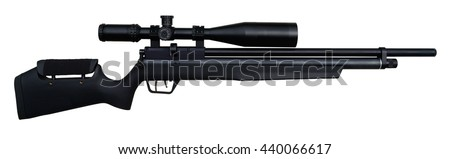 Black precision airgun with scope isolated on white. - stock photo
