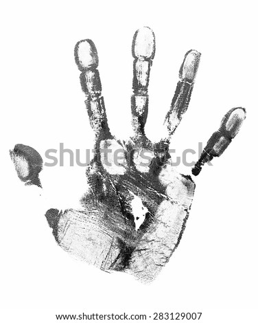 Black print of human palm isolated on white - stock photo