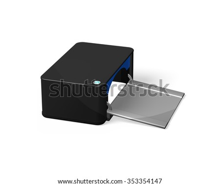 Black printer, side view, isolated on white background. - stock photo
