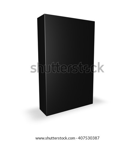 Black product box with blank cover isolated on white with shadow, 3D illustration. - stock photo