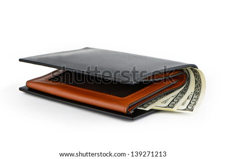 Black purse and three hundred dollars on a white background - stock photo