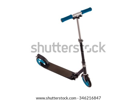 Black push scooter on white - stock photo