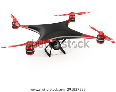 black quadcopter drone with HD camera on white background - stock photo
