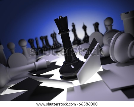 Black queen attack whites, breaking chessboard - stock photo