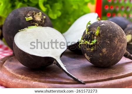 Black radish on wooden board - stock photo