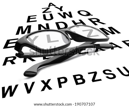 Black reading glasses with eye chart. Clipping path is included - stock photo