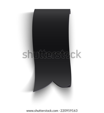 Black realistic curved paper banner. Ribbon - stock photo
