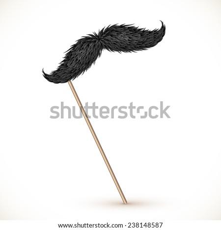 Black realistic mustaches on plastic stick - stock photo