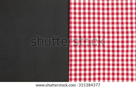Black, red and white tablecloth, texture background, top view  - stock photo