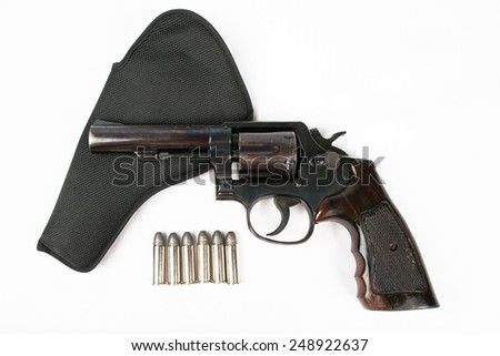 Black revolver gun isolated on white background. - stock photo