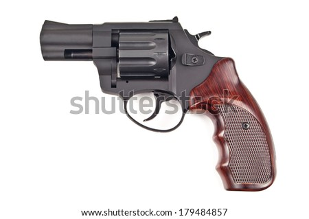 black revolver on white background - stock photo