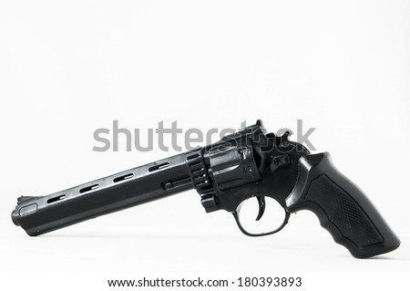 Black Revolver Pistol Gun on a White Background - stock photo