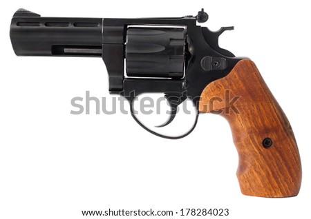 Black revolvers isolated on white background - stock photo