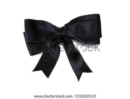black ribbon bow isolated on white - stock photo