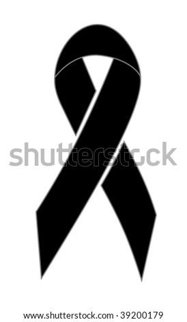 black ribbon of mourning - stock photo