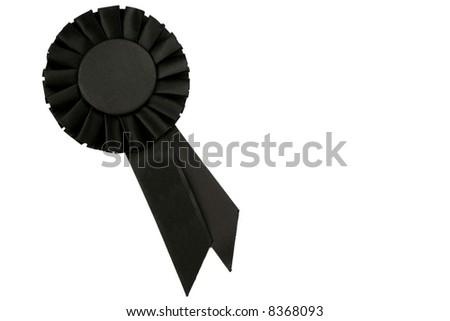 Black Ribbon on White Background - stock photo
