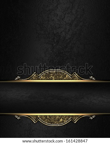 Black rich texture with black ribbon and gold pattern on the edges - stock photo