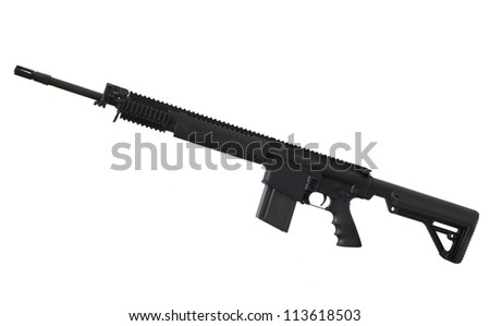 Black rifle that is in 7.62 and isolated on a white background - stock photo