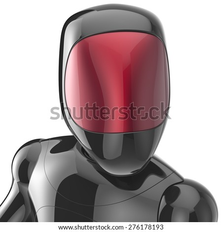 Black robot cyborg bot android futuristic character artificial concept red shiny face metallic. 3d render isolated on white background - stock photo